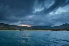 Panorama view on the beautiful komodo island inside of national park in indonesia Stock Image