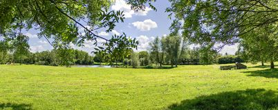 Panorama view of the park `The Wijdse Weide` in Zoetermeer, Netherlands. Panorama view of the beautiful park `The Wijdse Weide` in Zoetermeer, Netherlands royalty free stock photo