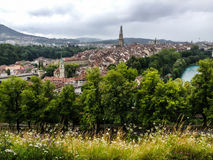 Panorama view of Berne old town from mountain top in rose garden, rosengarten, Berne Canton, Capital of Switzerland, Europe Stock Image