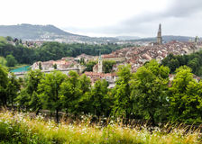 Panorama view of Berne old town from mountain top in rose garden, rosengarten, Berne Canton, Capital of Switzerland, Europe Stock Photo
