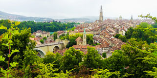 Panorama view of Berne old town from mountain top in rose garden, rosengarten, Berne Canton, Capital of Switzerland, Europe.  Royalty Free Stock Images