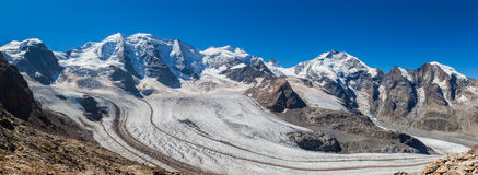 Panorama view of Bernina massive and glacier Stock Photos