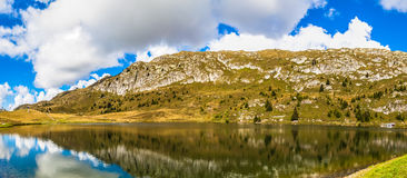 Panorama view of Bettmersee (Lake) in Valais royalty free stock photography