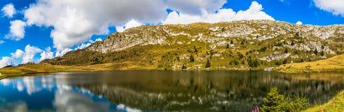 Panorama view of Bettmersee (Lake) in Valais stock photos