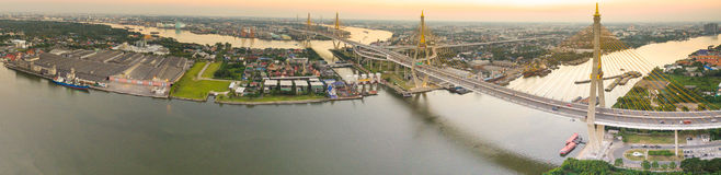 Panorama view of bhumibol bridge crossing chaopraya river  impor Stock Photography