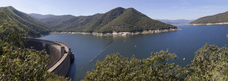 The panorama view of Bhumibol Dam Stock Photography