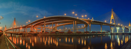 Panorama view of bhumiphol bridge important landmark and transpo Royalty Free Stock Photography