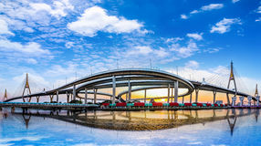Panorama view of `Bhumiphol` highway bridge across `Chaopraya` river in Bangkok Thailand with cityscape background. Named as King Stock Photography