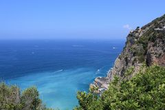 Sorrento with crystal clear sea, italy. Panorama view of the blue sea of Sorrento, in summer, Italy stock photography