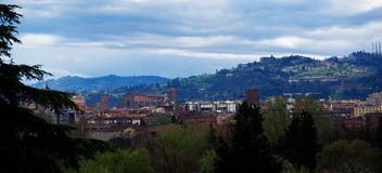 Panorama view of Bologna, basilic of San Petronio, the hills behind the city royalty free stock photography