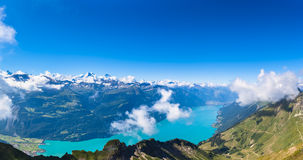 Panorama view of Brienz lake and the alps Stock Photo
