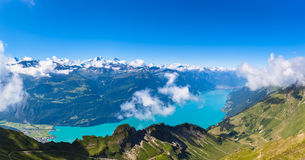 Panorama view of Brienz lake and the alps Royalty Free Stock Images