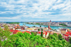 Panorama View on Budapest city from Fisherman Bastion. Royalty Free Stock Photography