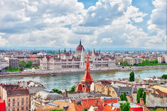 Panorama View on Budapest city from Fisherman Bastion. Stock Photos