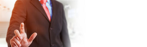 Panorama view of businessman pointing finger. On blurred background Royalty Free Stock Image