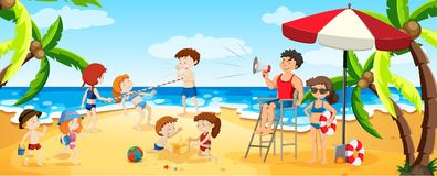 A Panorama View of Busy Beach vector illustration