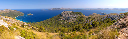 Panorama View of Cala Pi de La Posada in Mallorca, Spain Stock Photography
