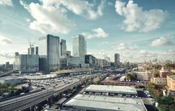 Panorama view of Canary Wharf stock photography