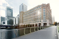 Panorama view of Canary Wharf Royalty Free Stock Photography