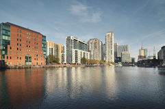 Panorama view of Canary Wharf stock images