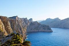Panorama view of Cap de Formentor - wild coast of Mallorca, Spain. Balearic Islands. Artistic sunrise and dusk landascape Royalty Free Stock Images