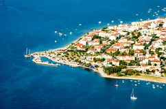 Panorama view cape of Kamena Vourla city and Aegean sea, tourist. Destination in Greece royalty free stock image