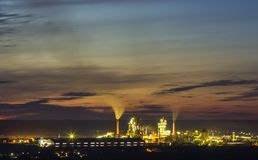 Panorama view of cement plant and power sation at night in Ivano. Frankivsk, Ukraine Stock Image