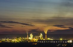 Panorama view of cement plant and power sation at night in Ivano. Frankivsk, Ukraine Royalty Free Stock Image