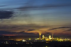 Panorama view of cement plant and power sation at night in Ivano. Frankivsk, Ukraine Stock Photo