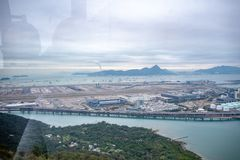 Panorama view of Chek Lap Kok airport and sea from ngong ping 360 cable car stock photos