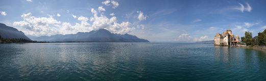 The panorama view of Chillon Castle and Lake Geneva in Switzerland stock image