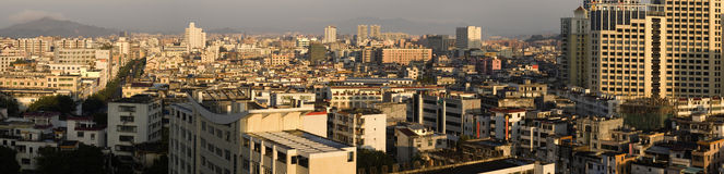 Panorama view of China town. It is a panorama view of China samll town, name is HuiDong, location is in HuiZhou City, GuangDong province, South of China Stock Photo