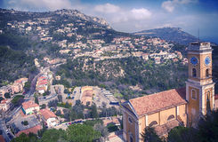 Panorama with view at Church of  Eze, small village near Nice Royalty Free Stock Photography