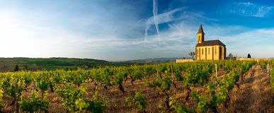 Panorama view of the church of Saint Laurent d'Oingt, Beaujolais, France Royalty Free Stock Photos