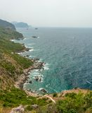 The panorama view of city beach in Montenegro Royalty Free Stock Photos