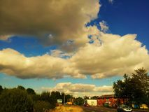 Panorama. View of the city and beautiful clouds Royalty Free Stock Photography