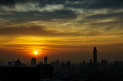 Panorama view of the city at twilight. Thailand, Bangkok, the ce Royalty Free Stock Images