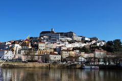 The panorama view of Coimbra historical center stock image