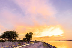 Panorama view with colourful sunset and twilight sky,, tropical island Bali, Indonesia. Royalty Free Stock Images