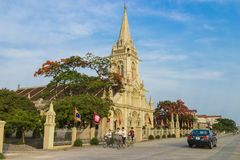 Panorama view of a commune church in Kim Son district, Ninh Binh province, Vietnam. The building is a travel destination for touri Royalty Free Stock Photos