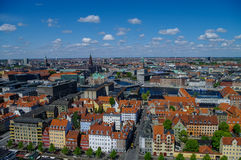 Panorama view of Copenhagen city  in sunny spring day Stock Images