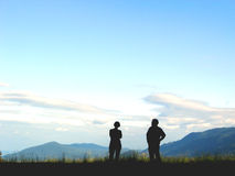 Panorama view couple. Happy couple looking down from the mounting Royalty Free Stock Photo