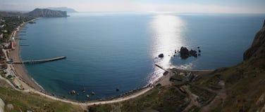 Panorama view of Crimea peninsula and pier. Bird's eye view of sea beach in black sea stock photography