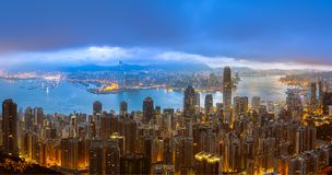 Panorama View Of Hong Kong City From the Sky Stock Photography