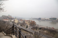Panorama view on Danube River and Buda Castle Stock Photos
