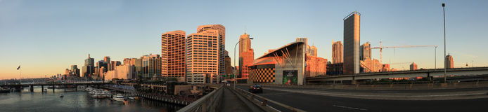 SYDNEY, NSW/AUSTRALIA-MARCH 20 :  Panorama sunset at Darling har Royalty Free Stock Images