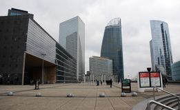 Panorama view of the Defense, business district in Paris, France royalty free stock photography