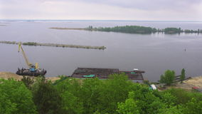 Panorama view of Dnieper River in Trypillia village, Ukraine stock video footage