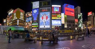 Panorama view at Dotonbori Osaka Japan. Panorama city night view at Dotonbori Osaka Japan Stock Images