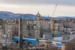 Panorama view at edinburgh city. From carlton hill Royalty Free Stock Images
